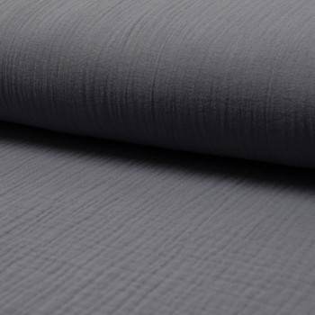 Tissu double gaze de coton gris