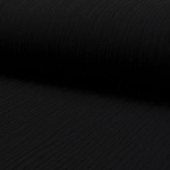 Tissu double gaze de coton noir