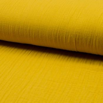 Tissu double gaze de coton jaune