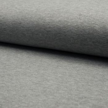 Tissu molleton sweat gris chiné