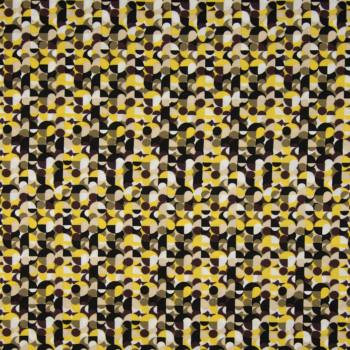 Tissu viscose imprimé cercles jaune