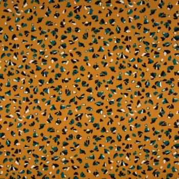 Tissu viscose imprimé constellation jaune ocre