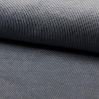 Tissu velours côtelé à grosses côtes bleu gris