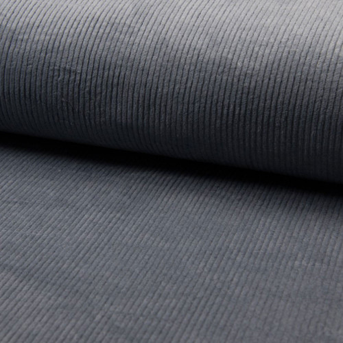 Gray blue thick ribbed corduroy fabric