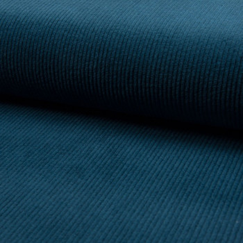 Petrol blue thick ribbed corduroy fabric
