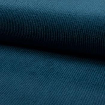 Tissu velours côtelé à grosses côtes bleu pétrole