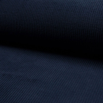 Navy blue thick ribbed corduroy fabric