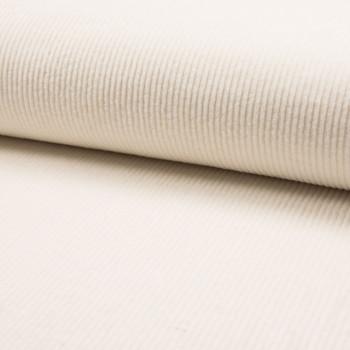 Tissu velours côtelé à grosses côtes blanc écru