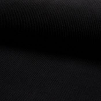 Black thick ribbed corduroy fabric