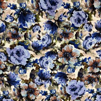 Tissu viscose imprimé floral bleu