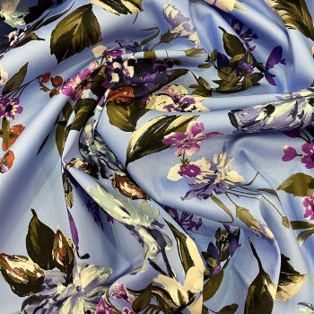 Blue floral printed cotton satin fabric