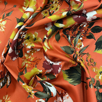 Orange floral printed cotton satin fabric