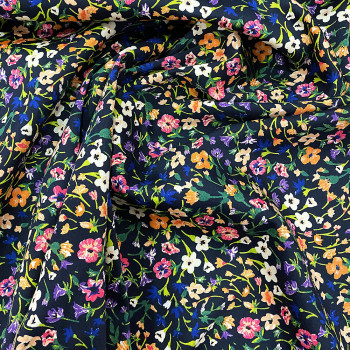 Navy blue floral printed cotton satin fabric