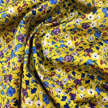 Yellow floral printed cotton satin fabric