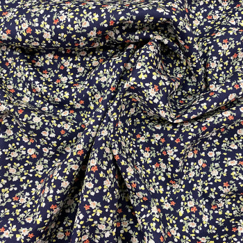 Navy blue floral print 100% cotton poplin fabric