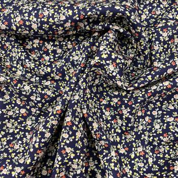 Tissu popeline 100% coton imprimé floral bleu marine