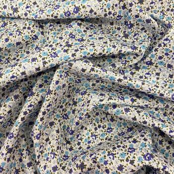 Tissu popeline 100% coton imprimé floral bleu