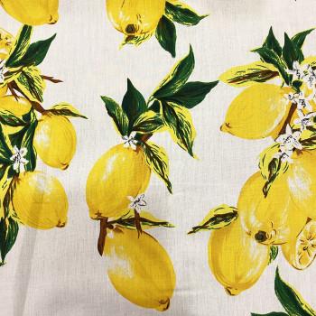 Tissu popeline 100% coton imprimé citron sur fond blanc