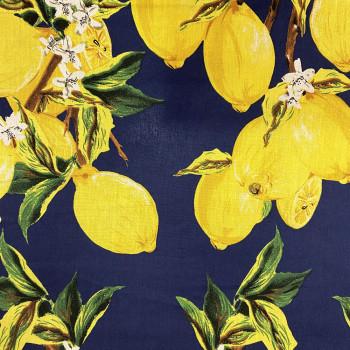 Tissu popeline 100% coton imprimé citron sur fond bleu marine