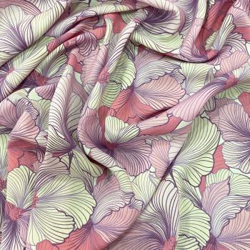 Tissu viscose imprimé floral rose