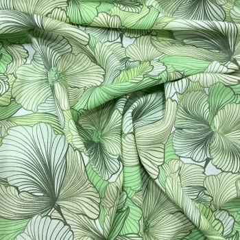 Tissu viscose imprimé floral vert