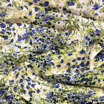 Blue & green floral printed viscose fabric