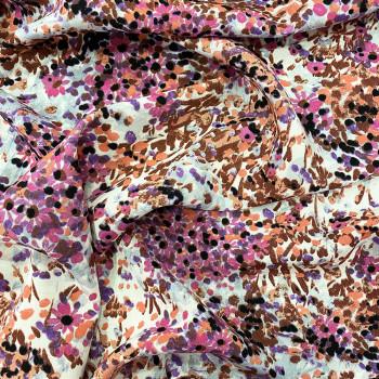 Tissu viscose imprimé floral fuschia et orange