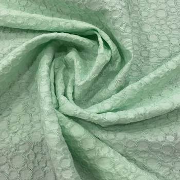 Nile green jacquard cotton piqué fabric