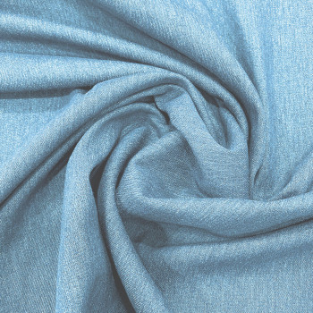 Stretch denim blue denim fabric with green trefoil edge
