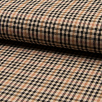 Beige and brown plaid bengaline fabric