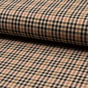 Tissu bengaline carreaux écossais beige et marron