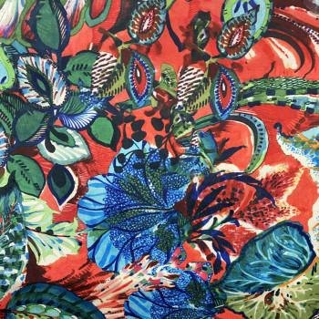 Velvet fabric floral print on red background