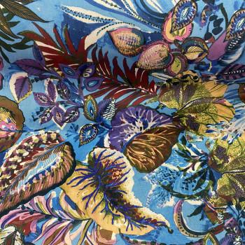 Tissu velours imprimé floral fond bleu