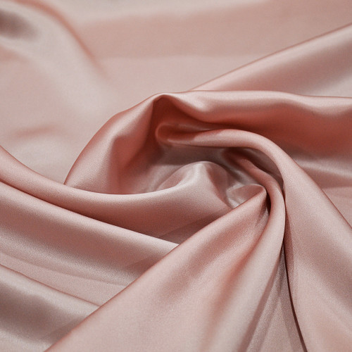 Tissu satin 100% soie vieux rose