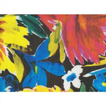 Tissu imprimé polyester à fleurs multicolore