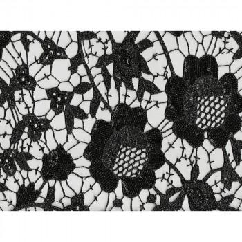 Tissu guipure pailletée fleurs noires et argent