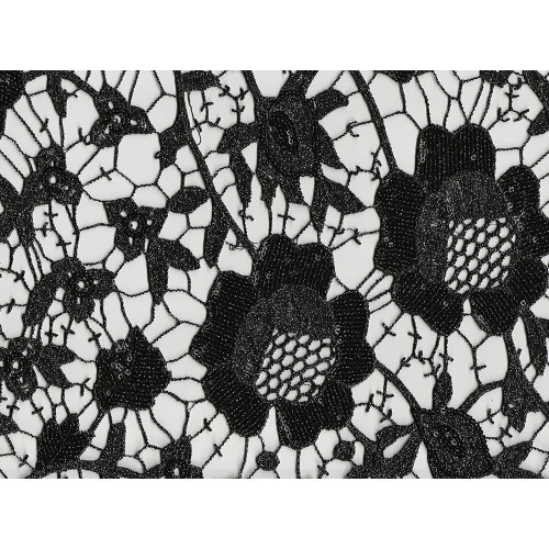Chemical lace guipure fabric sequined black and silver flowers