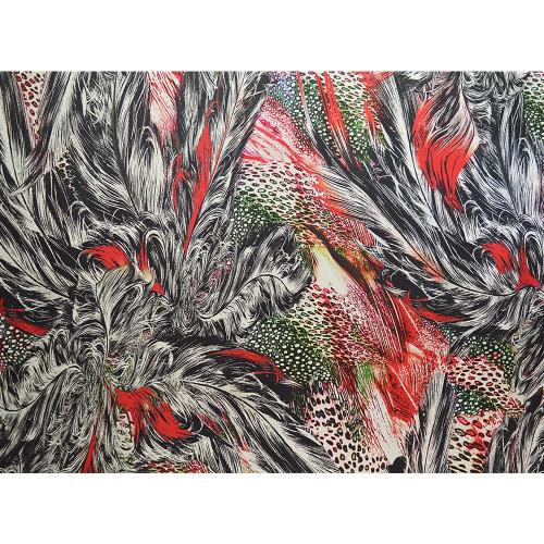 Tissu crêpe de chine de soie imprimé plumes rouges