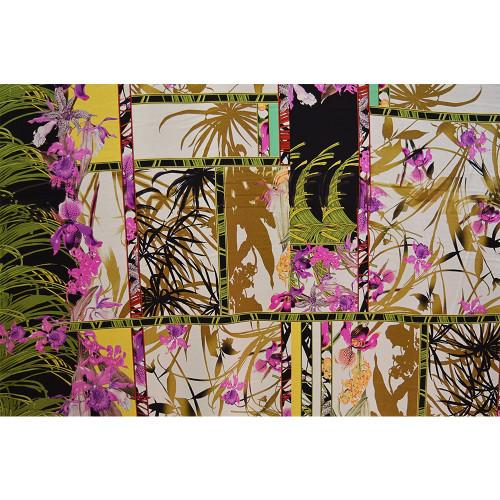 Tissu mousseline de soie imprimé motifs japonais