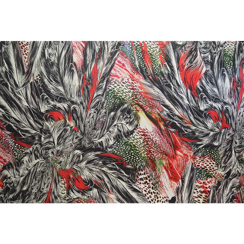 Tissu mousseline de soie imprimé plumes rouges