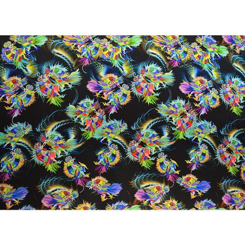 Japanese bird print silk chiffon fabric