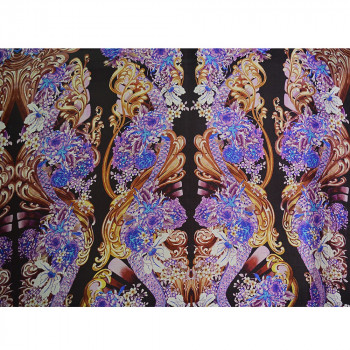 Tissu mousseline de soie imprimé floral violet