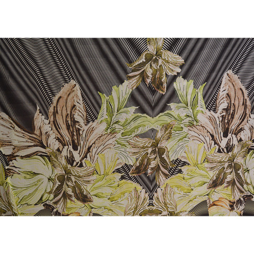 Floral print silk chiffon fabric with black geometric background