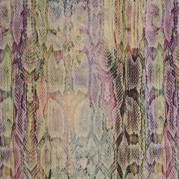 Tissu mousseline de soie imprimé python multicolore