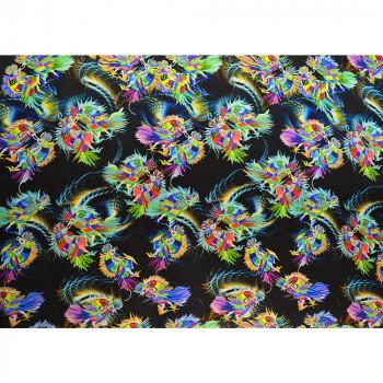 Japanese bird print silk satin fabric