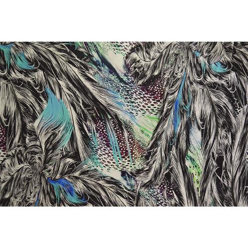 Tissu satin de soie imprimé plumes bleues