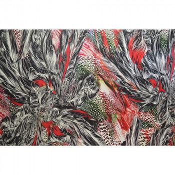 Tissu satin 100% soie imprimé plumes rouges