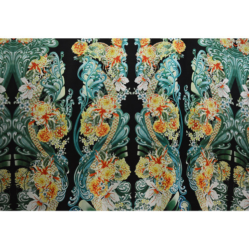 Green floral print lycra satin fabric with black background