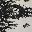 Tissu tulle brodé perlé noir