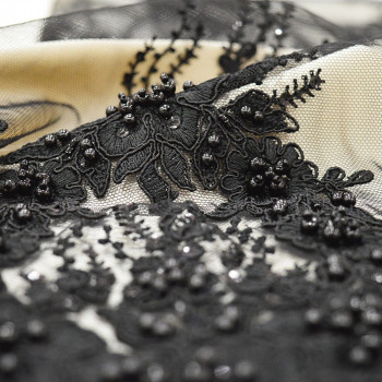 Black beaded and embroidered tulle fabric